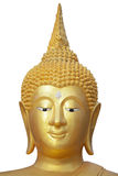 Head of Buddha statue. Golden buddha head isolated over a white background Royalty Free Stock Image