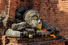Head of Buddha at Wat Worachet Temple ,The Ancient Siam Civilization of Ayutthaya Thailand Royalty Free Stock Images