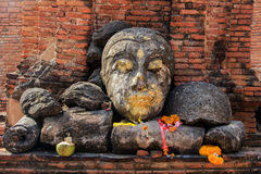Head of Buddha at Wat Worachet Temple ,The Ancient Siam Civilization of Ayutthaya Thailand Stock Photo