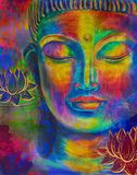 Head of Buddha watercolor royalty free stock photography