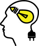 Head with bulb symbol and plug Royalty Free Stock Photo