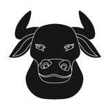 Head of bull icon in black style isolated on white background. Spain country symbol stock Royalty Free Stock Image