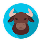 Head of bull icon in flat style isolated on white background. Spain country symbol stock vector illustration. Royalty Free Stock Images