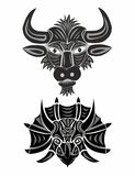 Head of a bull and triceratops in black and white stock photo
