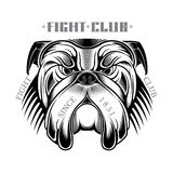 Head of bulldog in engraving style black on white. Head of bulldog in engraving style on white Stock Photo