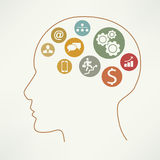 Head with business icons. Vector Royalty Free Stock Photos