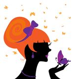 Head and butterfly. Abstract black silhouette of red-haired girl and butterfly royalty free illustration