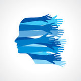 Head with Caring hands. Royalty Free Stock Photography