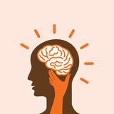 Head with Caring hands, abstract vector illustration Royalty Free Stock Photography