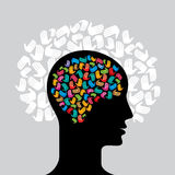 Head with Caring hands, abstract vector illustration Royalty Free Stock Photos