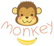Head cartoon monkeys and banana Stock Photography