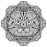 The head of a cat breed Scottish fold with a circular pattern. Coloring book for adults Stock Images