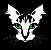 Head of a cat with green eyes. Vector Royalty Free Stock Photo
