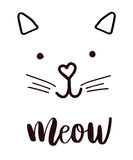 Head cat silhouette black icon, lettering meow whiskers . Royalty Free Stock Photo