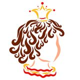 Head of a charming curly child in a crown, profile stock illustration