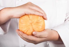 Head cheese in the hands of the chef Stock Photography