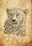 Head cheetah against the background of mechanisms stock illustration