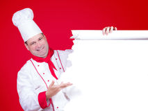 Head chef offers a empty menu Royalty Free Stock Photos