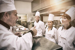 Head chef rating plate of one of his apprentices royalty free stock photos