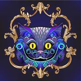 The head of the Cheshire cat from the fairy tale Alice in Wond. Erland with decorative pattern and frame. Stock line vector illustration Stock Images