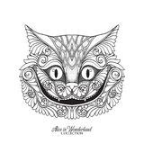 The head of the Cheshire cat from the fairy tale Alice in Wonde. Rland with decorative pattern . Vector illustration. Outline hand drawing coloring page for the Stock Images