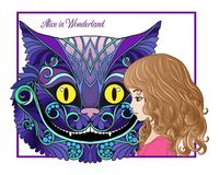 The head of the Cheshire cat and girl from the fairy tale Alice Royalty Free Stock Photos