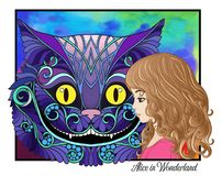 The head of the Cheshire cat and girl from the fairy tale Alice Stock Photography