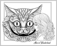 The head of the Cheshire cat and girl from the fairy tale Alice Royalty Free Stock Photography