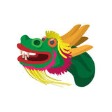 Head a chinese dragon icon, cartoon style. Head of a chinese dragon icon in cartoon style  on white background Stock Image
