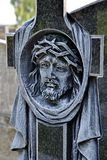 Head of Christ carved in the cross Stock Photo