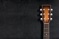 Head classical guitar blank chalkboard or blackboard. Head classical guitar against blank chalkboard or blackboard Stock Photography