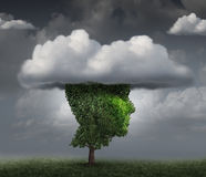 Head In The Cloud. Concept as a tree shaped as the face of a person with clouds covering the top as an imagination metaphor for contemplation and meditation or Royalty Free Stock Image