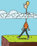 Head In The Clouds. Man walks toward a ledge with long neck in clouds Stock Photos