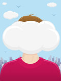Head In The Clouds. An illustration of a man with his head in the clouds Royalty Free Stock Image