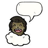 Head in clouds cartoon man Stock Photography