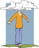 Head in clouds. Man with head in clouds and feet on the ground Royalty Free Stock Images