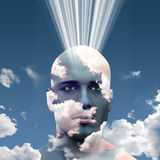 Head in Clouds. Man radiates energy from mind in clouds Royalty Free Stock Photo