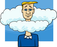 Head in the clouds saying cartoon. Cartoon Humor Concept Illustration of Head in the Clouds Saying or Proverb Royalty Free Stock Photos