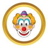 Head of clown vector icon, cartoon style Royalty Free Stock Images