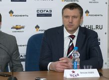 Head coach of CSKA hockey club Vyacheslav Butsaev the post-match press conference Royalty Free Stock Image