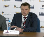 Head coach of CSKA hockey club Vyacheslav Butsaev the post-match press conference Stock Photo