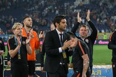 Head coach of FC Shakhtar Paulo Fonseca celebrates his victory of the Ukrainian Cup Final stock photo