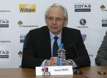 Head coach of the hockey club Lev Prague Vaclav Sykora post-match press conference Stock Photo