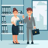 Head of company and secretary woman, business characters working in office, modern office interior vector Illustration. Cartoon style Royalty Free Stock Image