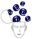 Head computer. Thinking head with many symbols computer Royalty Free Stock Photography