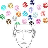 Head computer colors. Thinking head with many symbols computer Stock Photos