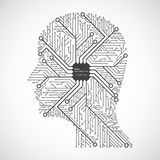 Head computing technology in an electronic circuit chip. Design elements. Stock Photography