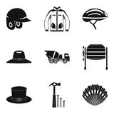 Head covering icons set, simple style. Head covering icons set. Simple set of 9 head covering vector icons for web isolated on white background Royalty Free Stock Images