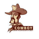 Head with cowboy hat Royalty Free Stock Images