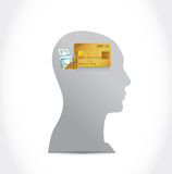 Head, credit card and money illustration design Royalty Free Stock Images
